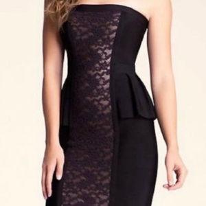 bebe Black Bodycon Dress Lace Panel L